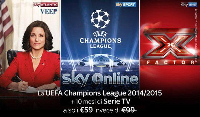 La UEFA Champions League 2014/2015 con 110 partite in esclusiva e 10 mesi di Serie TV di Sky Online ad un prezzo strepitoso