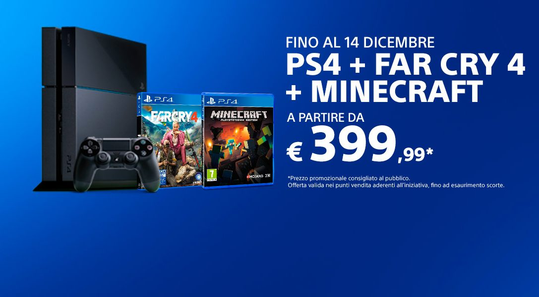 PS4 con Far Cry 4 e Minecraft ad un prezzo strepitoso!