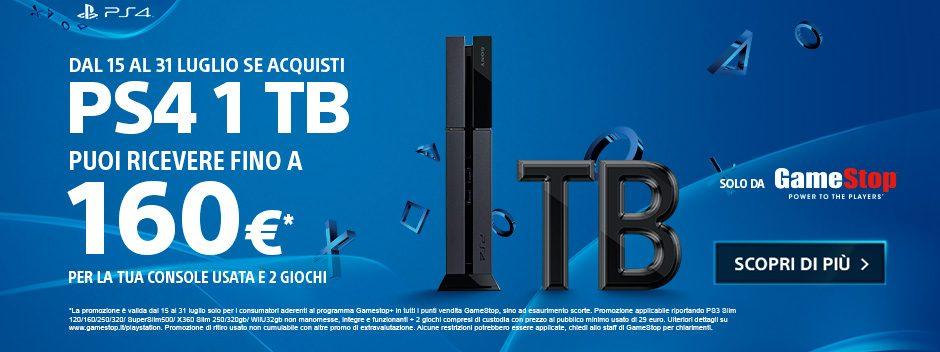 Acquista PlayStation 4 1TB – Puoi ricevere fino a 160€ per la tua console usata