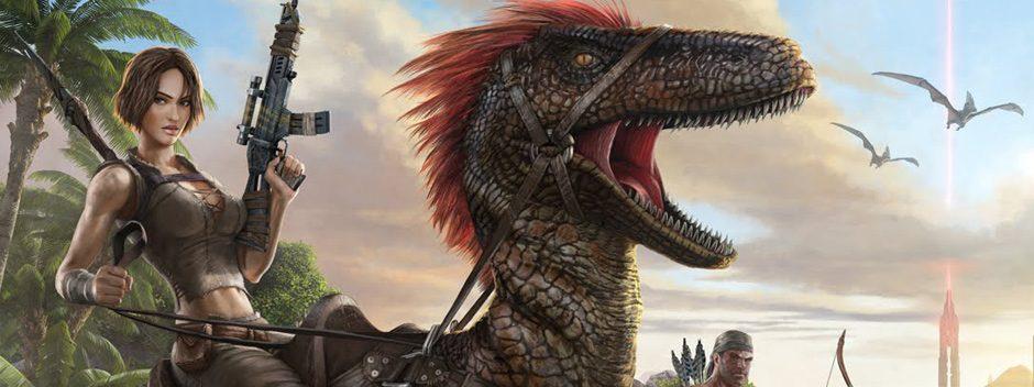 Vivi l'esperienza in una terra infestata infestata dai dinosauri nell'open world per PS4 Ark: Survival Evolved!