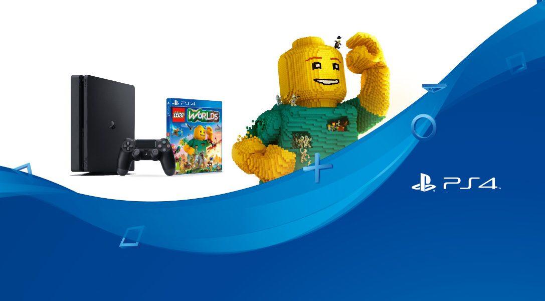 PS4 Slim 500 GB + LEGO Worlds a un prezzo eccezionale!