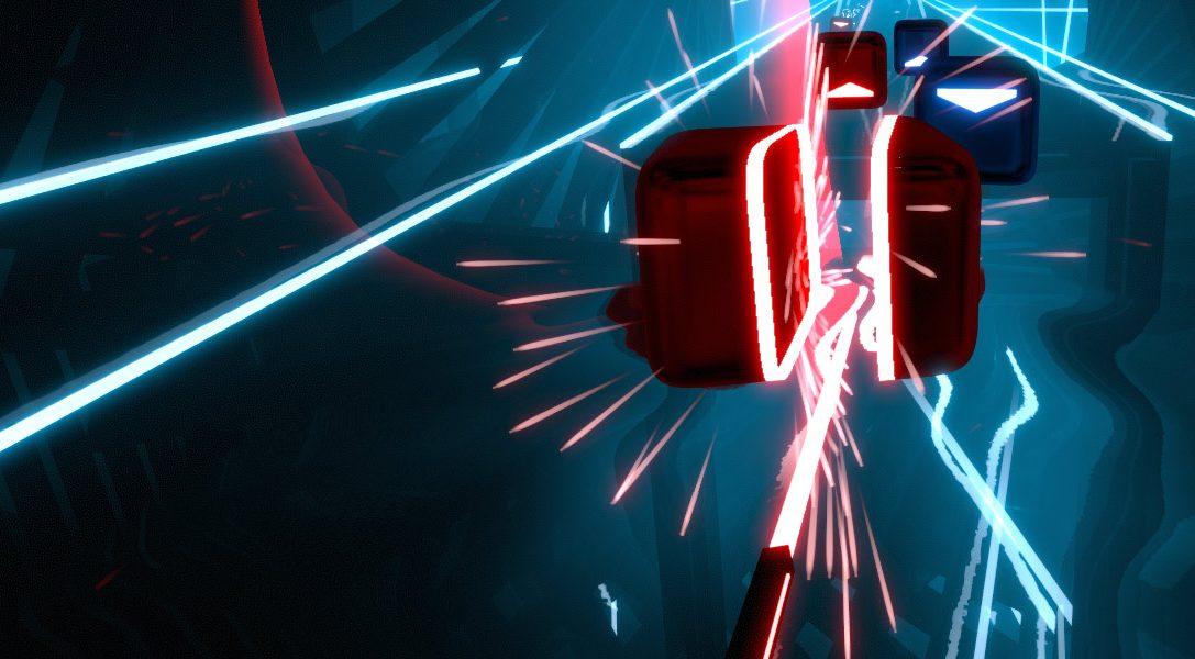 Usa PS Move per tagliare blocchi nel gioco d'azione ritmico Beat Saber, in arrivo su PS VR