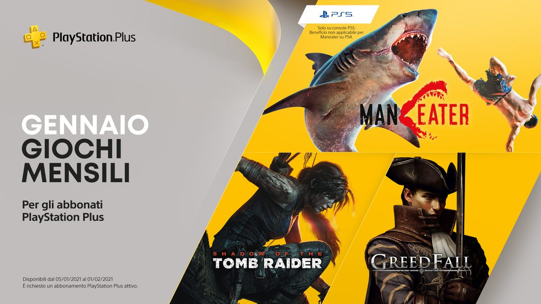 Giochi PlayStation Plus di gennaio: Maneater, Shadow of the Tomb Raider e Greedfall