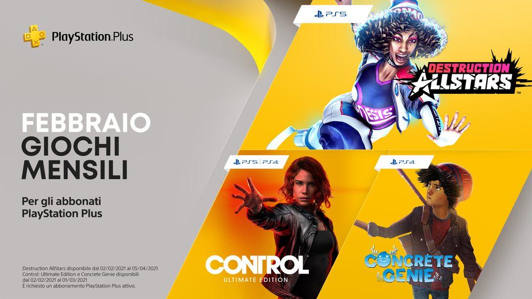 Destruction AllStars, Control: Ultimate Edition e Concrete Genie sono i giochi PlayStation Plus di febbraio