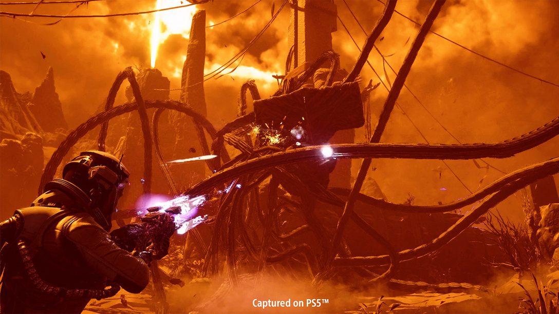 Armi potenziabili, strumenti alieni e miglioramenti a doppio taglio: tutti i dettagli sui combattimenti di Returnal