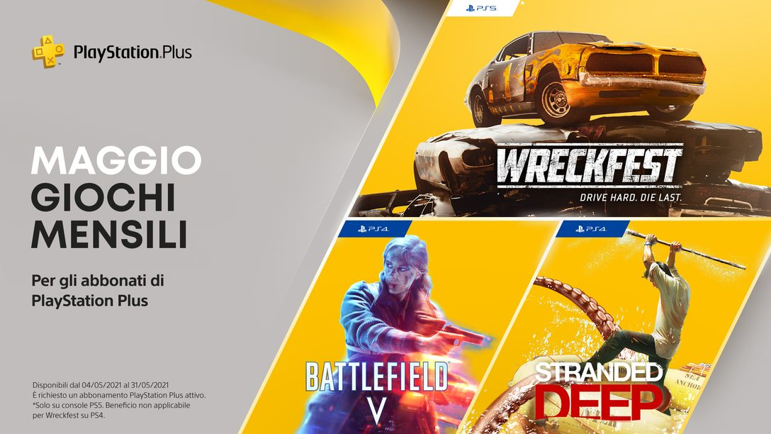 Giochi PlayStation Plus di maggio: Battlefield V, Stranded Deep, Wreckfest: Drive Hard. Die Last.