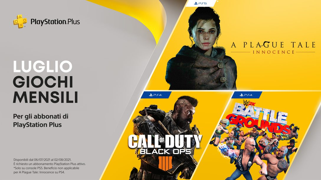 I tuoi giochi PlayStation Plus di luglio sono: Call of Duty: Black Ops 4, WWE 2K Battlegrounds e A Plague Tale: Innocence